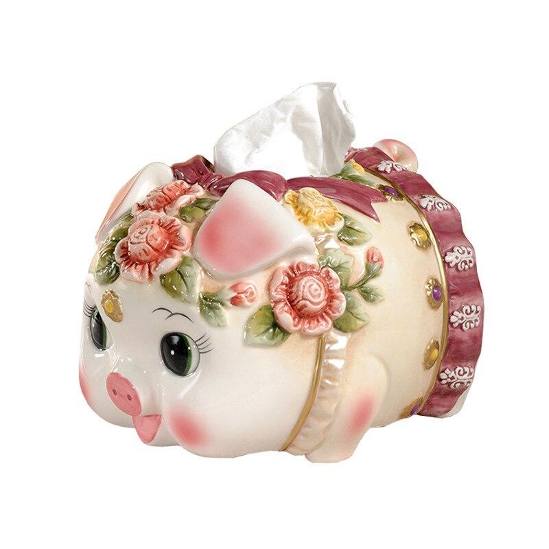European Pastoral Victoria Ceramic Pig Pig Tissue BOX High grade Ceramic Handicraft Living Room Coffee Cable Table Decor M1878
