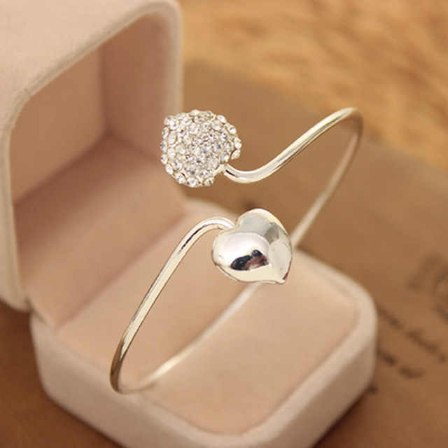 2018 New Silver Loving Open Bangles Women Double Heart Crystal Cuff Bracelet Cubic Zirconia Rhinestone Charm Jewelry Adjustable