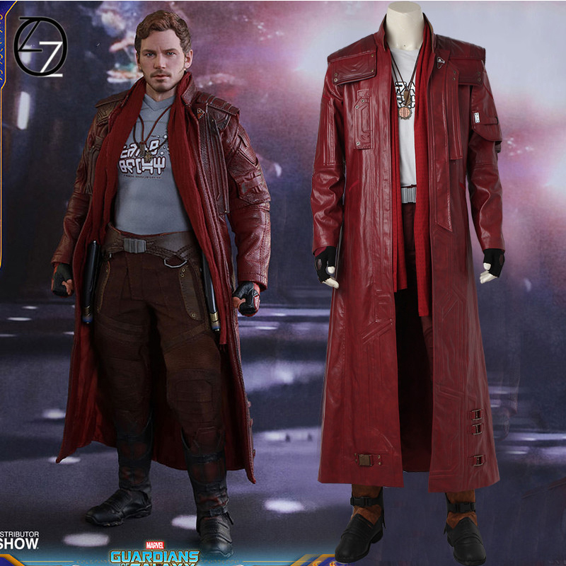 Guardians Of The Galaxy 2 Star Lord Jacket Halloween Costumes Adult Peter Quill Star Lord Cosplay Costume Long Leather Jacket 120pc pg8044 building blocks toys star lord peter guardians of the galaxy groot raccoon quill nebula mantis glenmora hugo drax