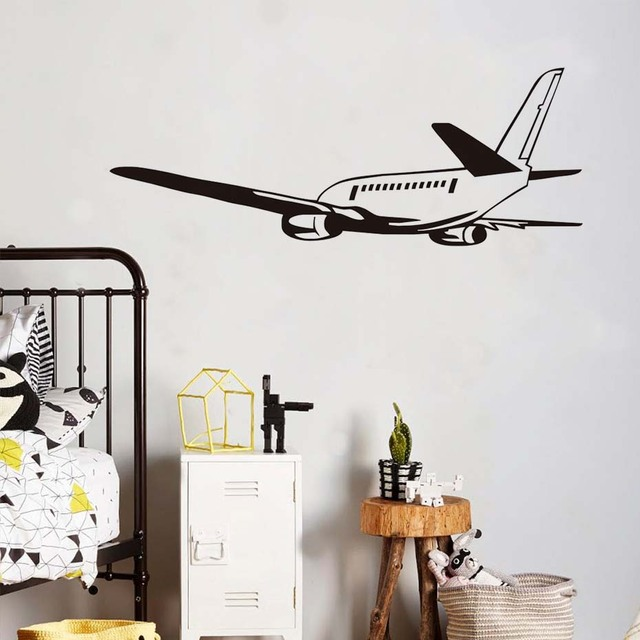 Wall decal large size plane vinyl sticker removable house decoration poster kids boys bedroom playroom living