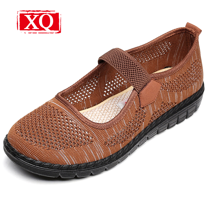 XQ Women Summer Mesh Flat Shoes HollowOut Round Toe Casual Shoes Breathable Elastic Band Cloth Shoes Antiskid Mother Sandal S309 xq new breathable cloth shoes fashion women hollow out summer casual shoe air mesh flat shoes sandals non slip ladies shoes s102