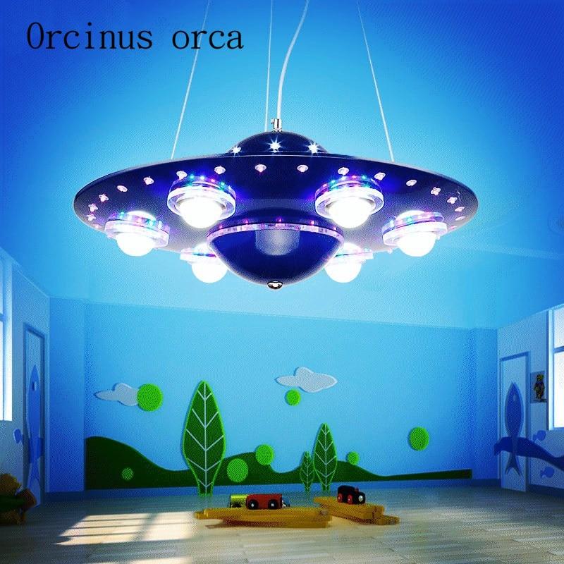 Children s room ufo chandelier creative cartoon flying saucer chandelier boy bedroom light led living room