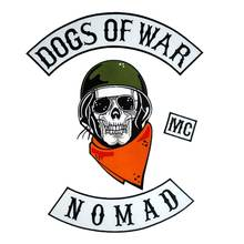 DOGS OF WAR NOMAD Biker Rider Patch BACKING Embroidered biker Patches Badge 4 PCS/set