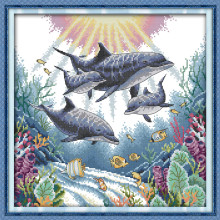 Dolphin Cotton Animal Canvas DMC Cross Stitch Kits Accurate