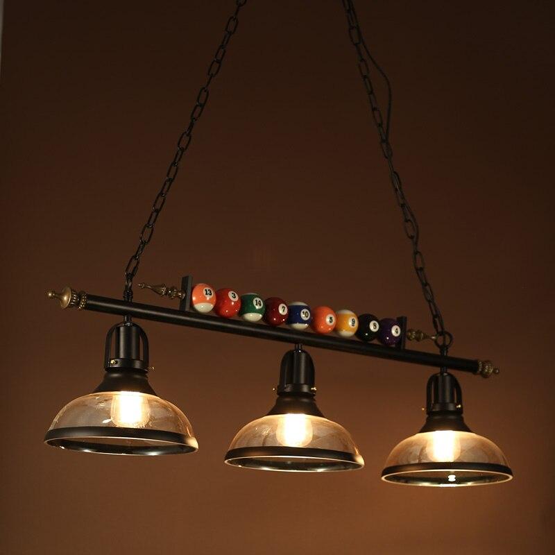 Mesa de Bilhar luminária droplight Nordic quarto sombra de vidro de ferro do vintage sala de jantar café restaurante luz pingente
