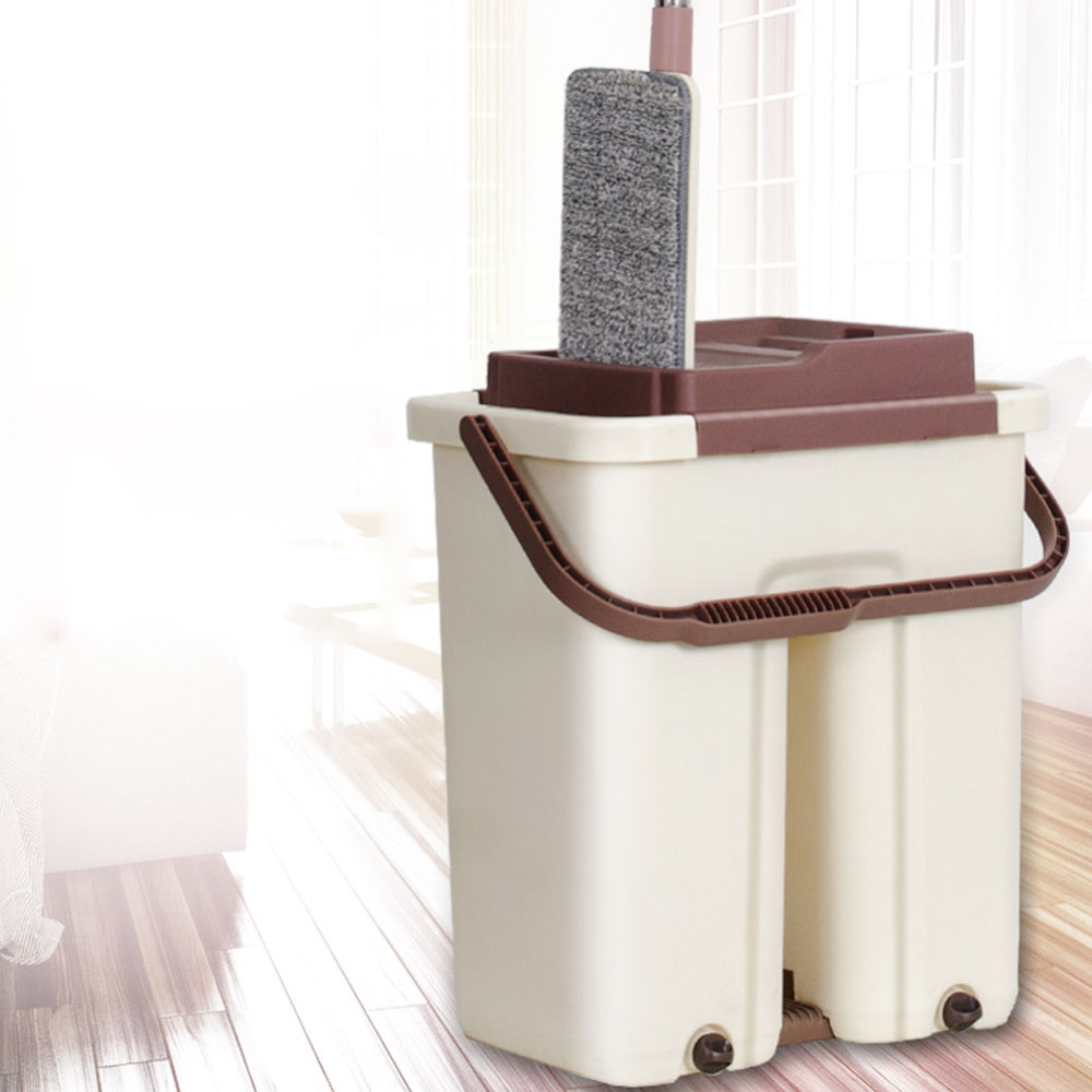 2019 New Large Automatic Dehydration Free Hand Wash Lazy Mop Bucket Flat Mop Home Self care Reinforcement Rod Rotating Mop-in Mops from Home & Garden    1