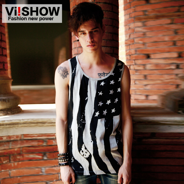 Viishow Summer Fashion Male Models Bottoming Tank Tops Men Casual Stripe Printing Slim Sleeveless Undershirt American Flag Star