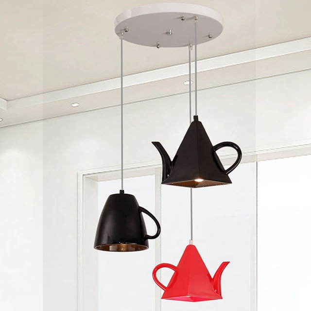 Beau LukLoy Modern Kitchen Lamp Resin Teapot Tea Cup Kitchen Pendant Lights  Shade For Home Kitchen Dining