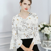 2018 spring summer women chiffon floral blouse fashion all-match casual female office lady shirts tops