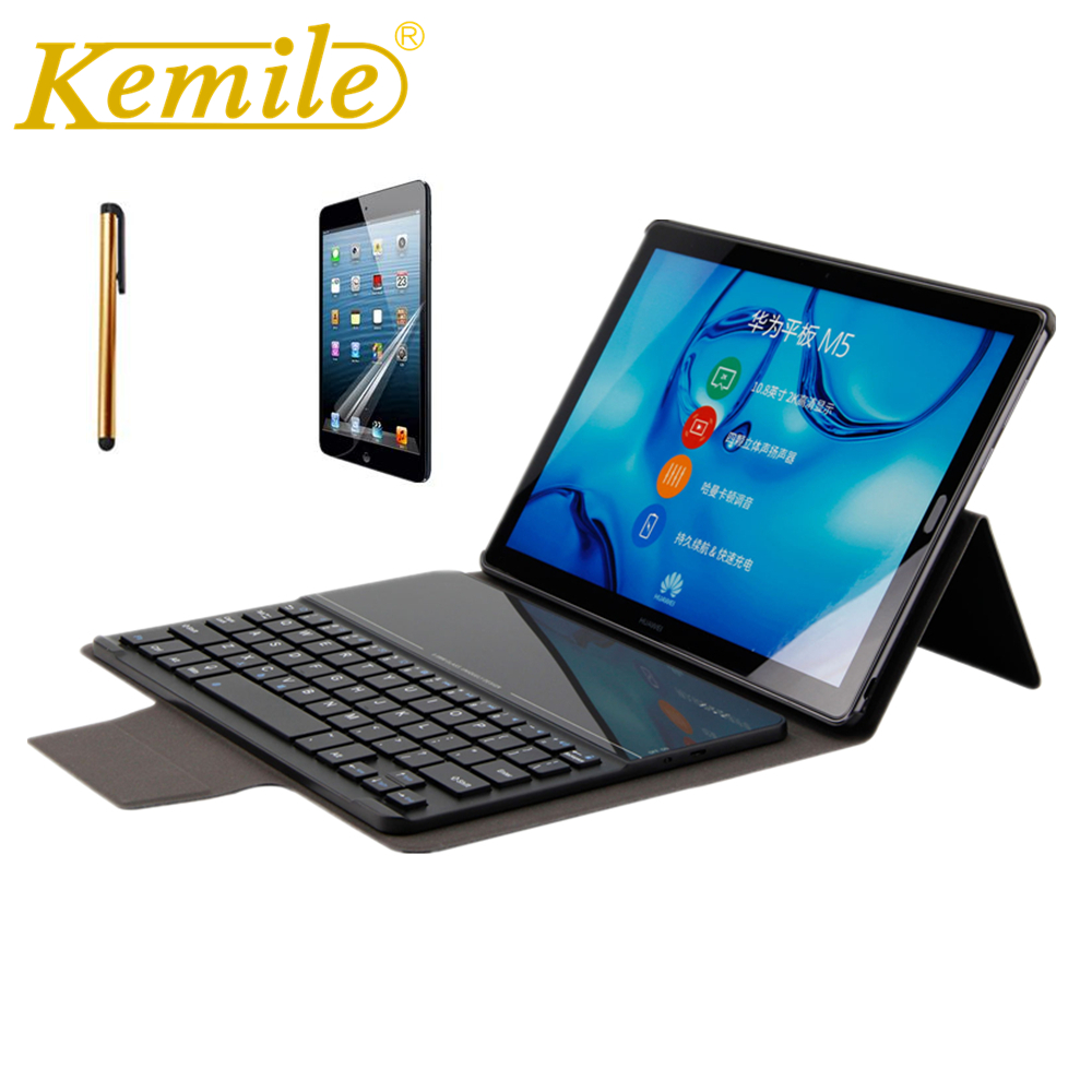 Kemile PU Leather Case For Huawei MediaPad M5 10.8 CRM-AL09 CRM-W09 W Wireless Bluetooth Keyboard For Huawei MediaPad M5 10 pro silicone with bracket flat case for huawei mediapad m5 8 4 inch