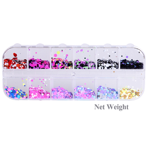 Image 5 - 1Set Colorful Nail Glitter Sequin Dust Round Shiny Nail Flakes Mixed Size UV Gel Manicure Tips Paillette Nail Art Decor LAD 1