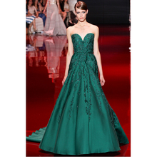 hot sexy sweetheart long prom dresses a-line green lace appliques satin 2015 new design beading evening dress vestido de festa