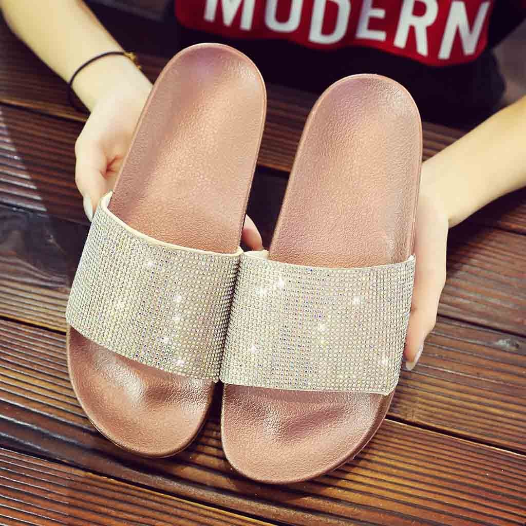 Womens Summer Flat Diamante Sparkly Slippers Casual Ladies Sequin Flower Sliders Boho Roman Sandals for Girls Holiday Beach Walk Flat Slip on Shoes Traveling