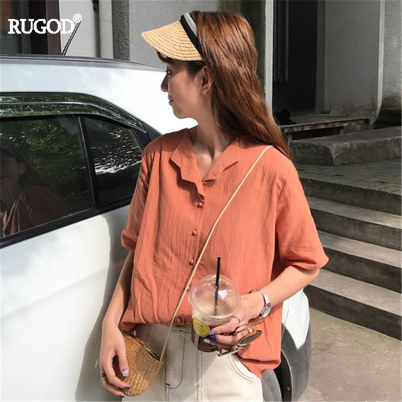 RUGOD 2019 Korea Fashion  Summer Notched Single Breasted Solid Blouse Short Sleeve Sweet Gril  Casual Lady Preppy Style