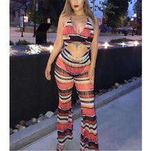 body women rompers womens jumpsuit backless V Lead Hollow Out Reveal Back Sexy Sleeveless Printing striped combinaison femme new