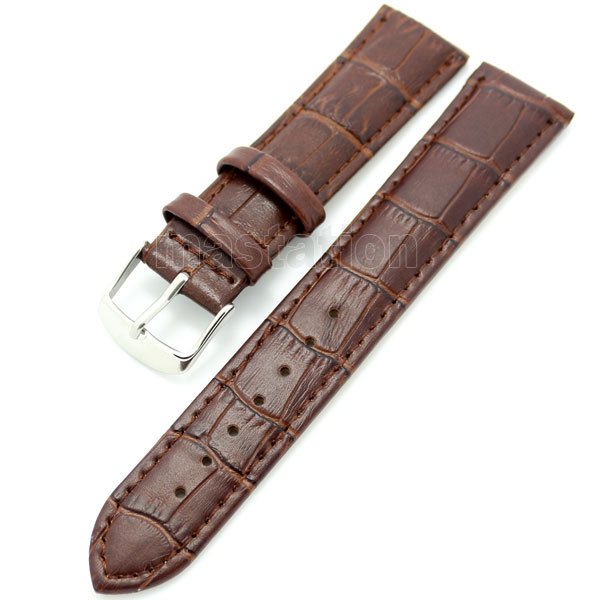 Brown 26mm Band Width Genuine Leather Wrist Watch Band Strap Stainless Steel Buckle Mens Womens + 2 Spring Bars black 20mm band width rubber wrist watch band strap stainless steel pin buckle 2 spring bars