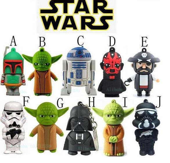 Star Wars Darth Maul/ Vader/ R2D2/ Yoda USB Flash Drive/U Disk/Creativo Pendrive/Memory Stick/Gift 4GB-64GB S105 S205