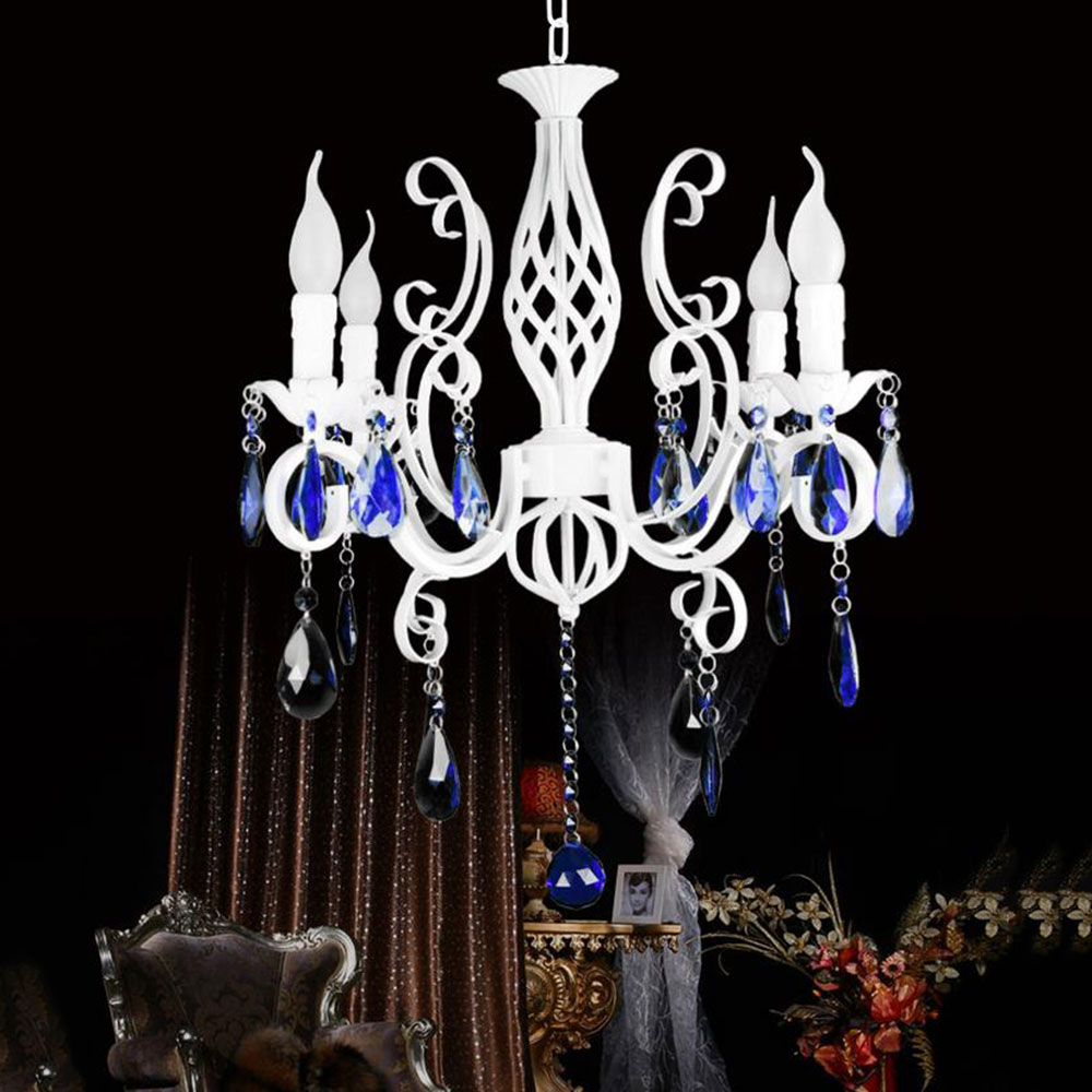 AC110V 220V 58*40cm 4pcs E14 candle Wrought Iron light Blue Crystal Chandelier White Pendant Lamps light Luminaria decorationAC110V 220V 58*40cm 4pcs E14 candle Wrought Iron light Blue Crystal Chandelier White Pendant Lamps light Luminaria decoration
