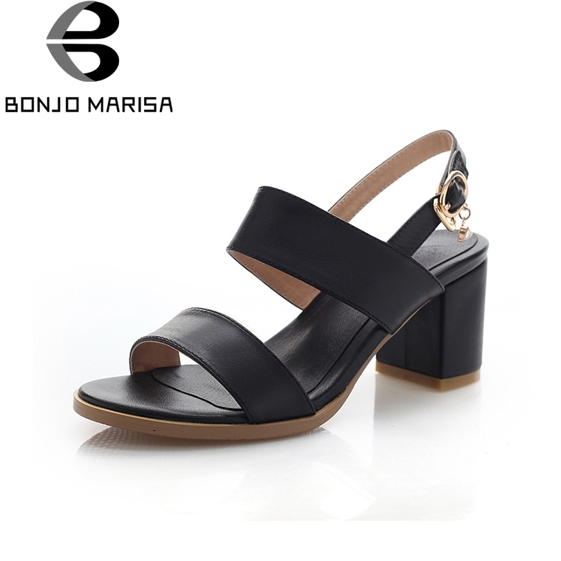 BONJOMARISA 2018 new sandals of high quality cowhide genuine leather summer shoes women square heels woman shoes big size 33-43 summer high heeled shoes new packets of foreign trade big yards for women s shoes sandals of the lacquer that bake