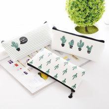 лучшая цена Kawaii Cactus Pencil Case Stationery Supplies Cute Large Capacity Canvas Pencil Bag Chancery School For Boys Girls Gift