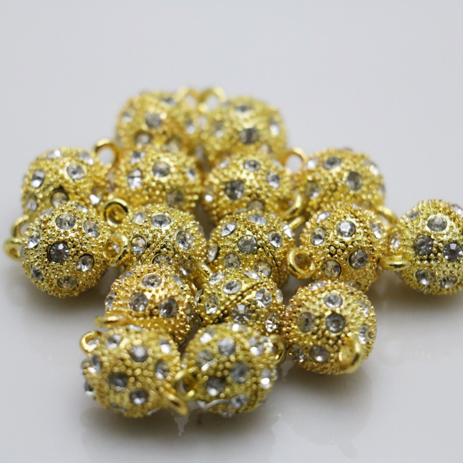 10PCS Rhinestone beads Accessory buttons findings for snaps jewelry metal parts DIY Making Design magnetism Necklace Gold-Color