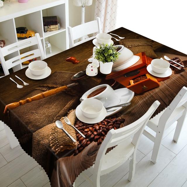 3D Tischdecke Frohe Weihnachten Kaffee und Blumenmuster Wasserdicht ...
