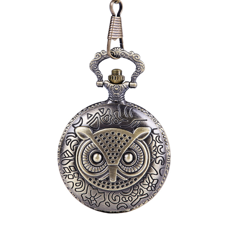 Vintage Classic Embossed Vintage Owl Case Quartz Pocket Watch With Necklace Charm Accessories