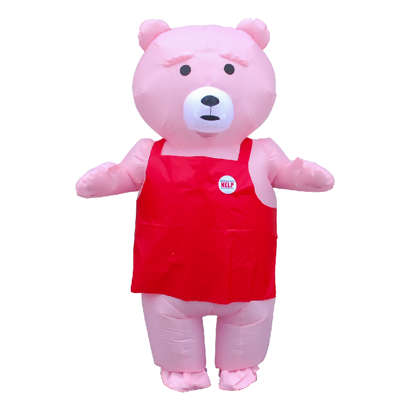 Top Quality Teddy Bear Inflatable Costume Funny Anime Mascot Costume Halloween Adult Animal Fancy Party Dress With Red Apron