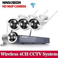 Wifi CCTV System 4CH 960P HD NVR Wireless IP Network CCTV 4 Channel NVR Kit Home