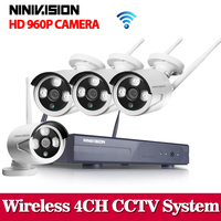 Wifi CCTV System 4CH 960P HD NVR Wireless IP Network CCTV 4 Channel NVR Kit Home
