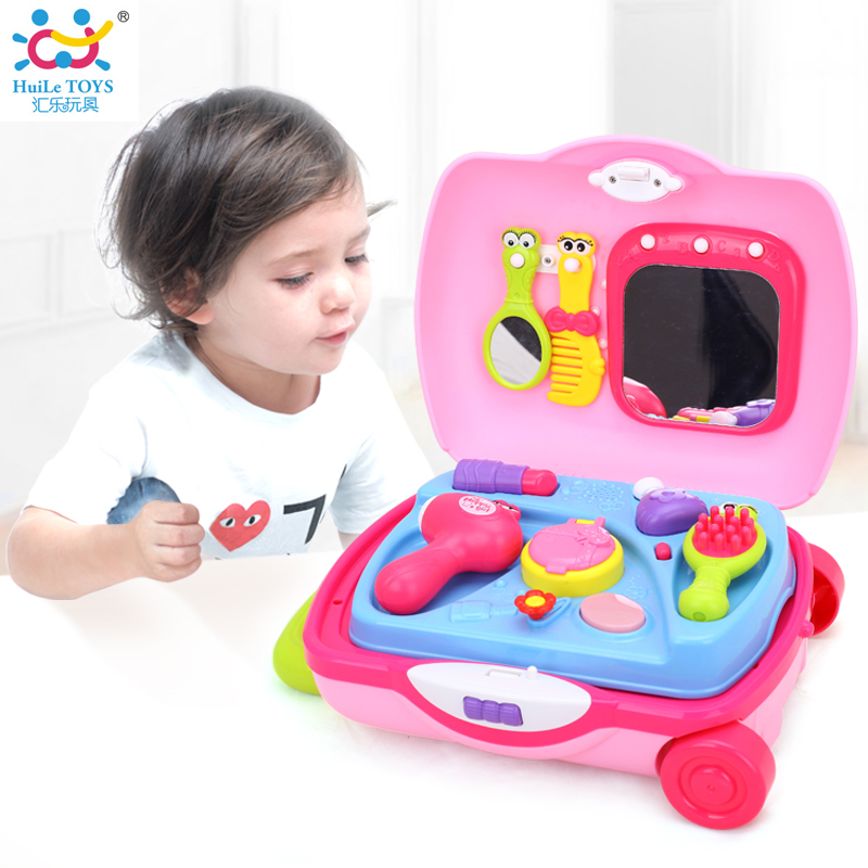 HUILE TOYS 3109 Pretend Play Make-up Dress Toys Luggage Suitcase Toy Set Children Dollhouse Furniture Play House Toys for Girls pizza balance game pile up balancing desktop toy pretend play food small family plastic building blocks toys for children