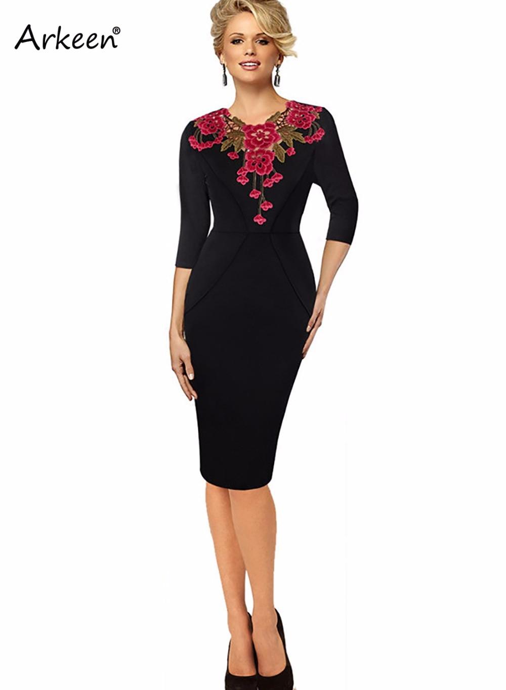 Retro Embroidery Crochet Floral Sheath Dress Women 2017 Bodycon ...