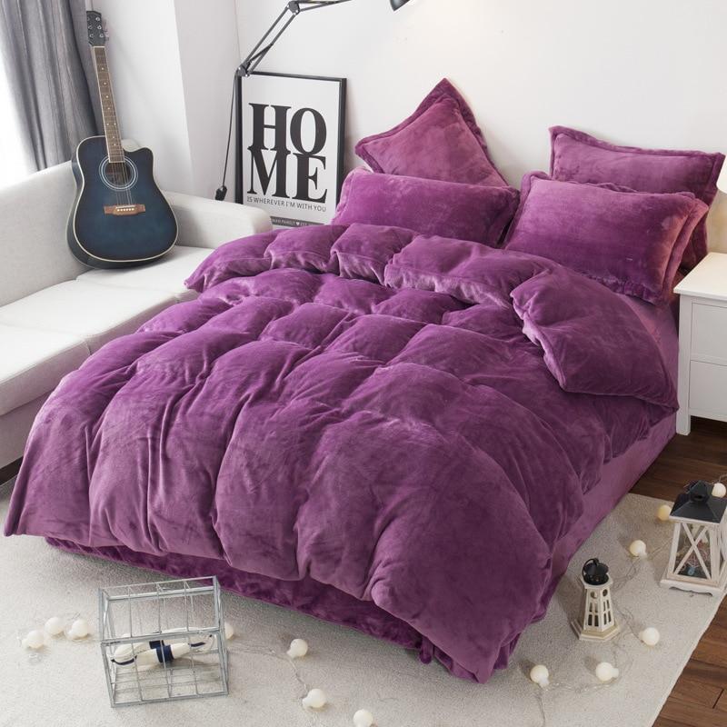 Free Shipping Modern Style Soft Fay Velvet Duvet Cover Set Bed Sheet Pillowcase King Size Super Soft Bedding Sets JAJU036