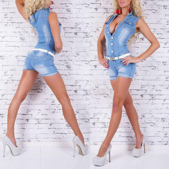 f47132ae46ba M H Sexy Jean Jumpsuit Shorts Sexy Rompers Denim Skinny Jumpsuit Women  Sleeveless Jumpsuit Summer 2016 Combinaison Short Femme-in Rompers from  Women s ...
