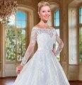 Vestido de noiva 2016 Long Sleeve Ball Gown Wedding Dress Boat NecK Sexy through back Renda vestido de casamento Novia Plus size