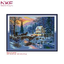 NKF Cross Stitch Kits Printed Fabric 11CT 14CT Return in winter Chinese Needle Crafts DIY Handmade Home Decor