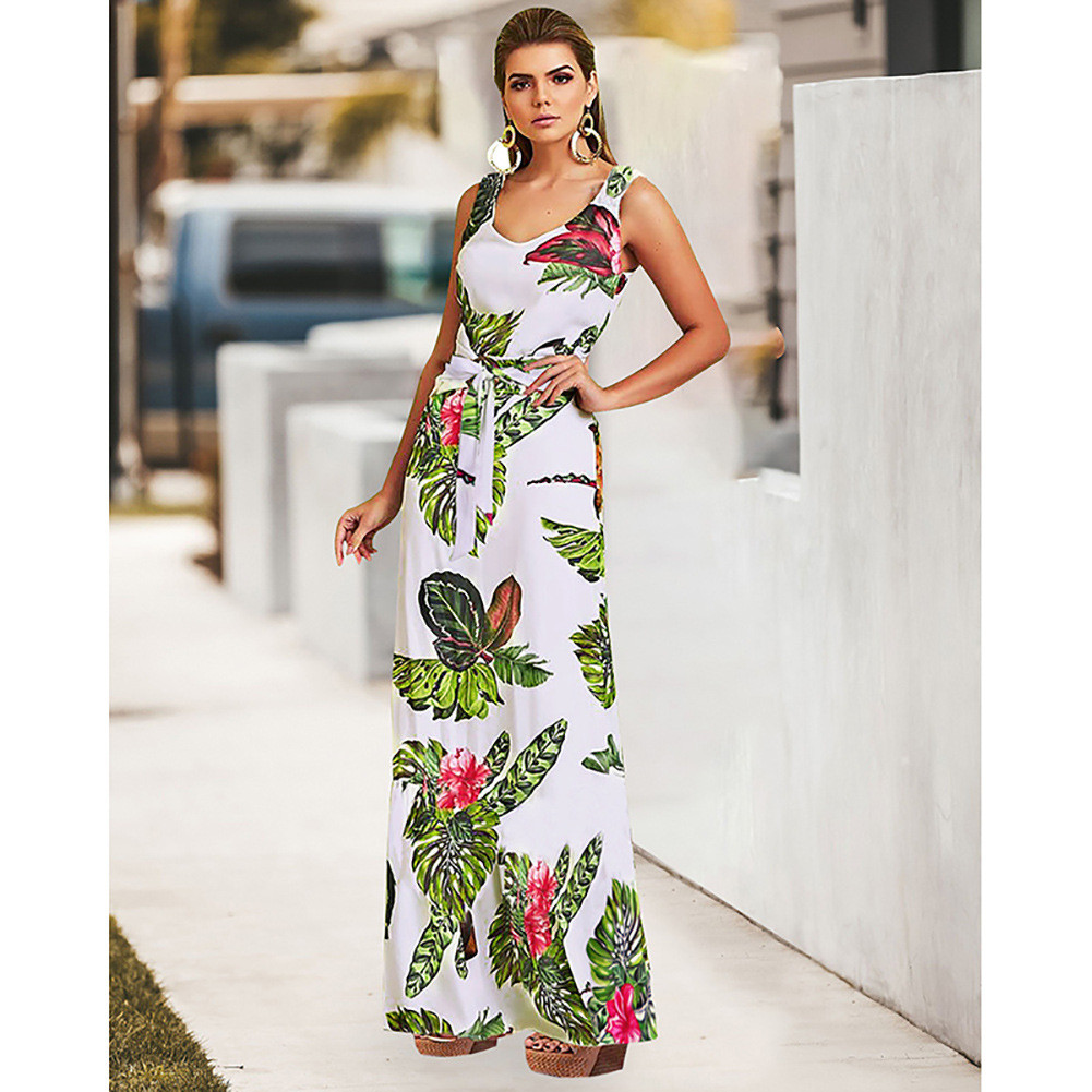 Women's Summer High Waist Bandage Casual Fashion Temperament Print Sexy Joker Open Back Dress платье vestidos сарафан платья 41*