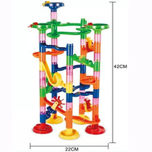 Color Building Blocks DIY Construction Marble Race Run Maze Balls 3D Track ball Block Children Gift Educational Toys