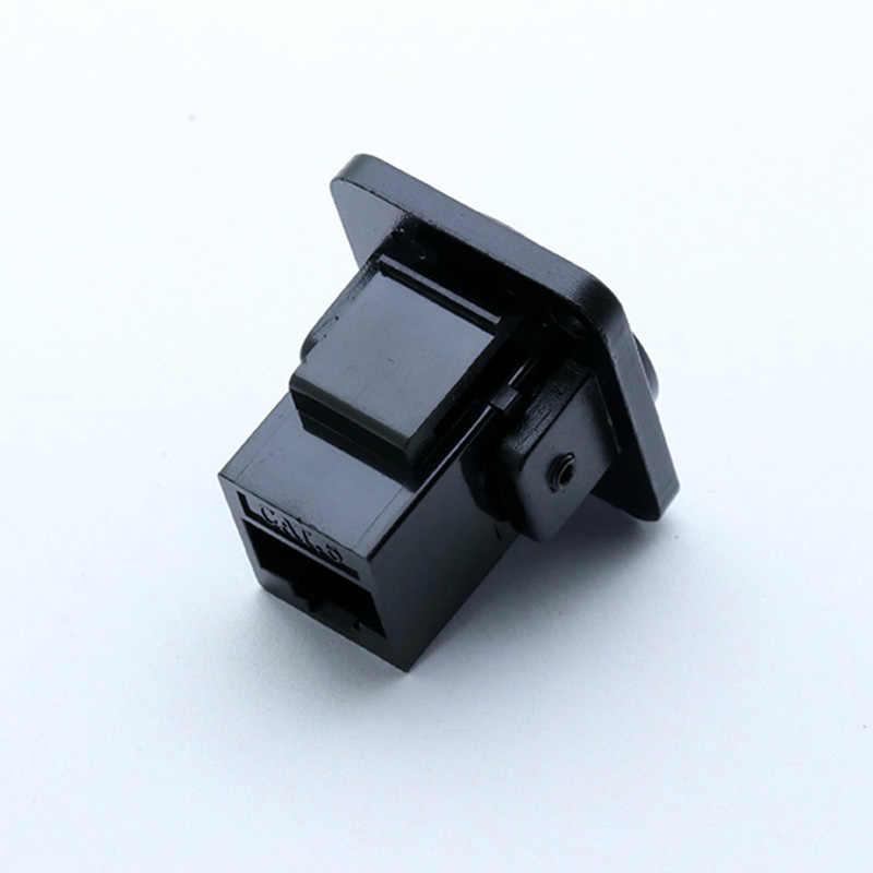 Conector rj45 de 1pc, cat.6, tipo d, 8p8c, concha de metal + pinos de cobre, conector de rede fêmea do soquete do chassi rj45 da montagem do painel