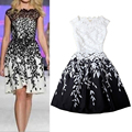 2015 New Spring and summer flower embroidery hook hit the color black and white pleated dress vest dress A dress leaves E3307*5