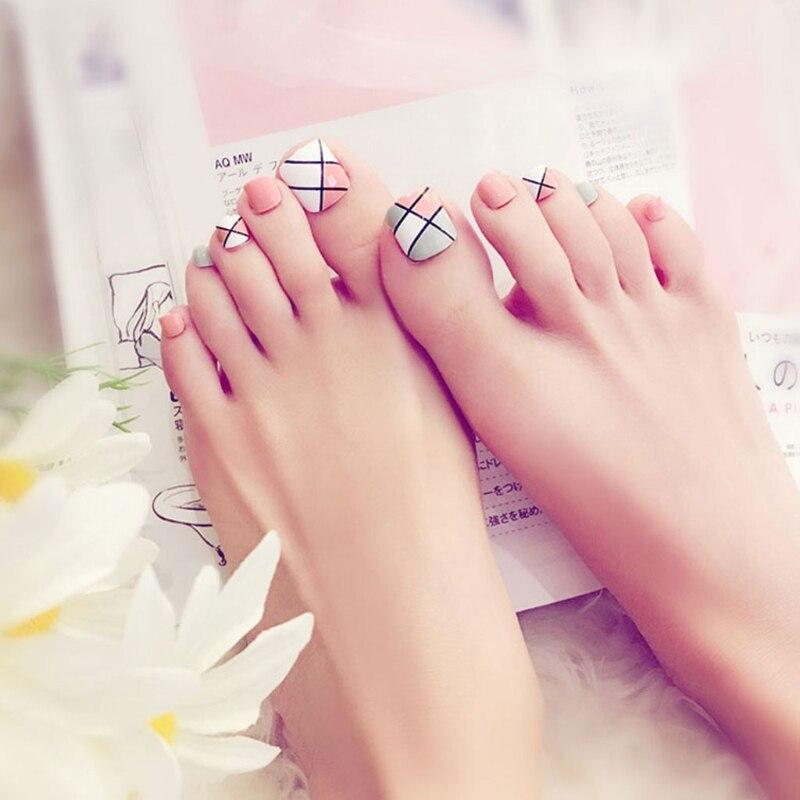 24Pcs Foot False Nail Tips Cute Fake Toes Nails Toe Art Tool Women Summer Gift