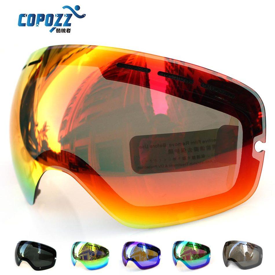 Lens for font b ski b font goggles COPOZZ GOG 201 anti fog UV400 large spherical