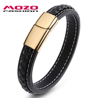 MOZO FASHION Men Bracelet Jewelry Stainless Steel Magnetic Clasps Bracelets Black Leather Rope Chain Vintage Man