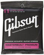 Gibson SAG-BRS11 Masterbuilt Premium 80/20 Bronze Ultra Light Acoustic Guitar Strings 11-52