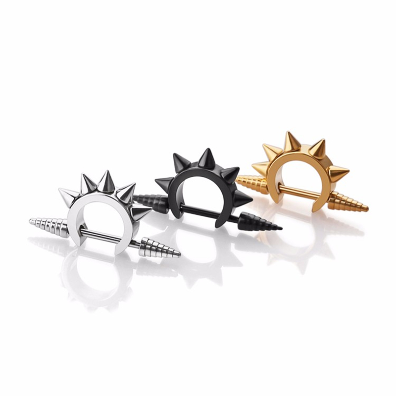 Spike earrings cool ear stud stainless Steel body piercing jewelry for man woman fashion sharp series 1 pair