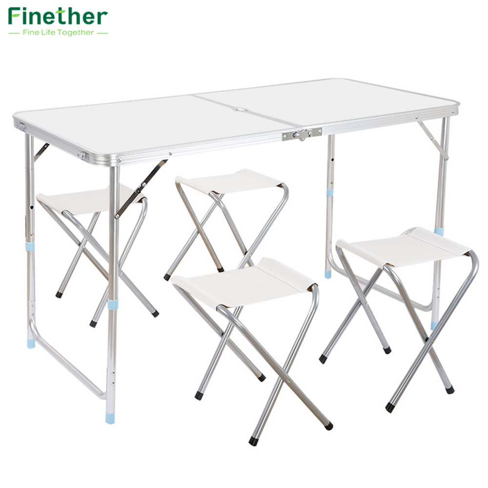 Surprising Finether Portable Ultralight Height Adjustable Aluminum Table Folding Outdoor Table Stool Set For Dining Picnic Camping Bbq Download Free Architecture Designs Scobabritishbridgeorg
