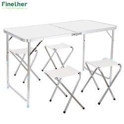 Finether portátil ultraligero altura ajustable mesa de aluminio plegable al aire libre Mesa taburete Set para comedor Picnic Camping barbacoa