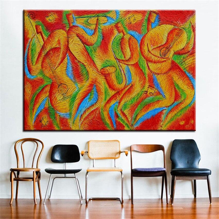 №Impresión de gran tamaño pintura al óleo ritmo Blues pintura de ...