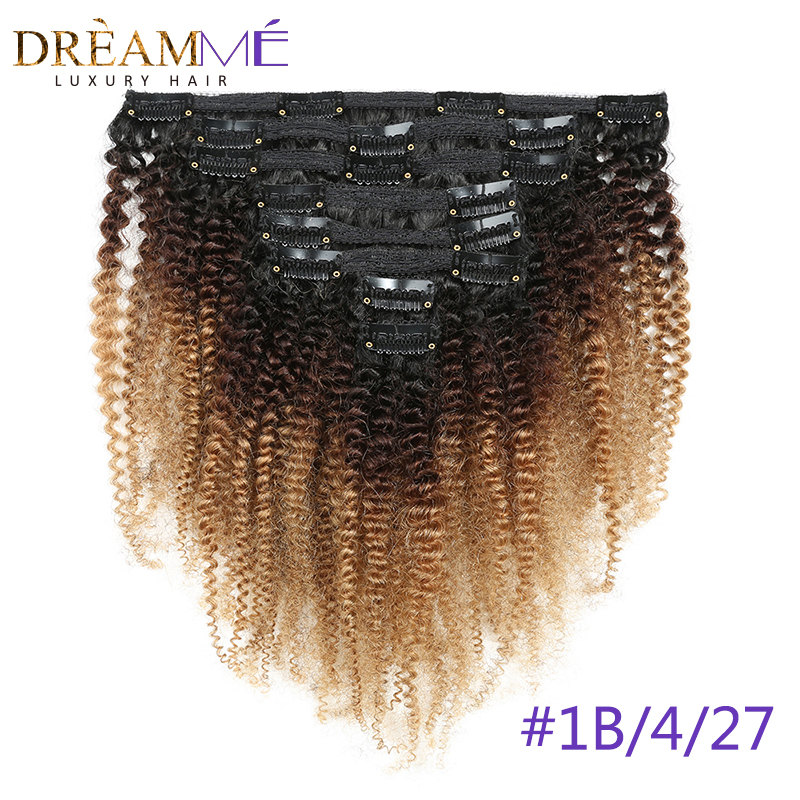 1B 4 27 Ombre Color 4B 4C Mongolian Afro Kinky Curly Clip In Human Hair Extensions 8 Pcs/Set Clips 100% Human Natural Remy Hair