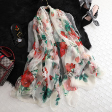 Fashion Women Scarves Rose printing  Soft long Wrap Scarf Silk 2019 New Ladies Chiffon Shawl 135*190cm